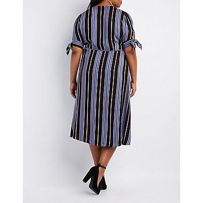 Plus Size Striped Midi Wrap Dress