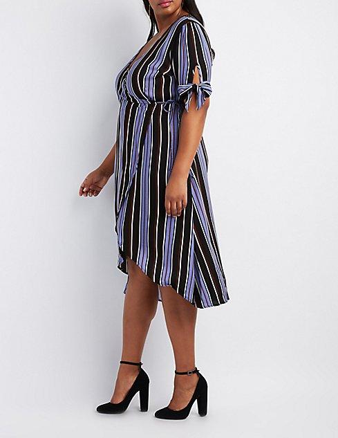 Plus Size Striped Midi Wrap Dress | Charlotte Russe