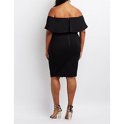 Plus Size Textured Off-The-Shoulder Bodycon Dress