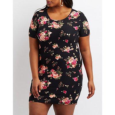 Plus Size Floral Bodycon Dress