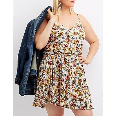 Plus Size Floral Surplice Skater Dress