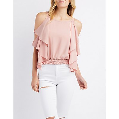 Ruffle Batwing Cold Shoulder Top