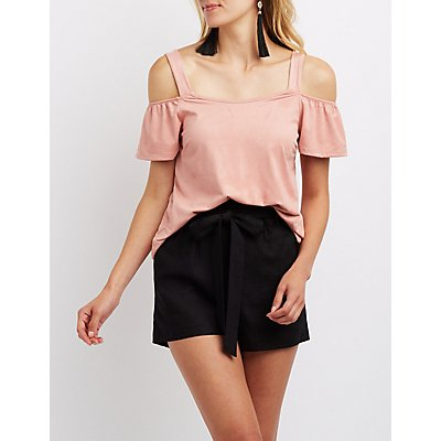 Faux Suede Cold Shoulder Top