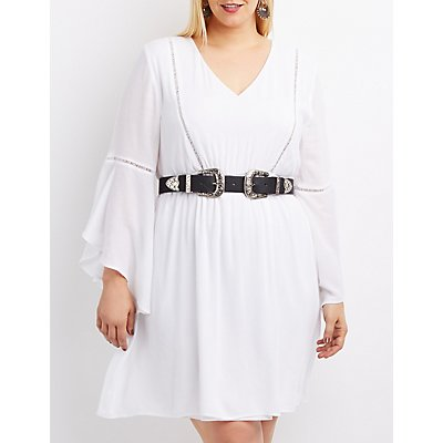 Plus Size Crochet-Trim Bell Sleeve Skater Dress