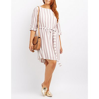 Plus Size Striped Tie-Waist Dress
