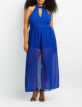 Plus Size Choker Neck Layered Maxi Romper
