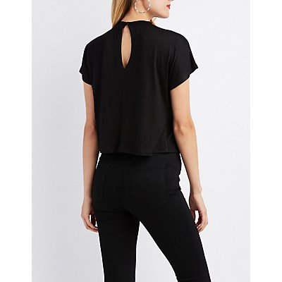 Choker Neck Graphic Cropped Tee