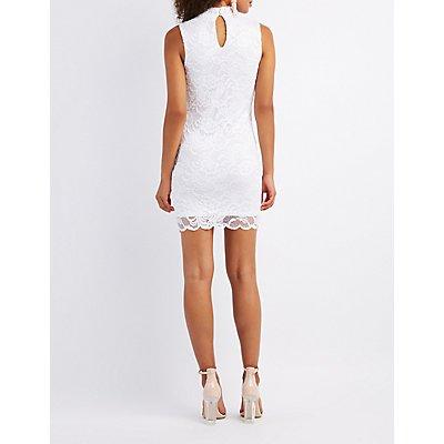 Choker Neck Lace Bodycon Dress