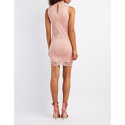 Choker Neck Lace Bodycon Dress