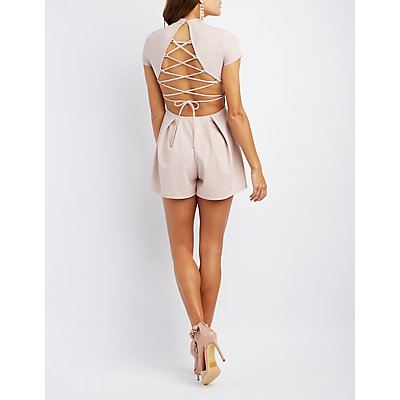 Mock Neck Lace-Up Back Romper