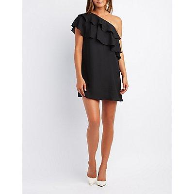 Ruffle-Trim One-Shoulder Shift Dress