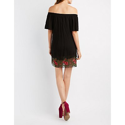 Embroidered Crochet-Trim Off-The-Shoulder Dress