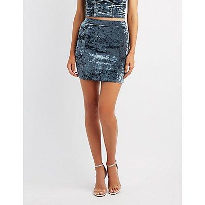Velvet Bodycon Mini Skirt
