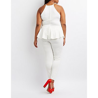 Plus Size Scalloped Peplum Jumpsuit