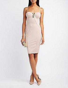 Gold-Trim Bustier Bodycon Dress