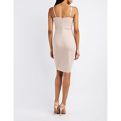 Gold-Trim Bustier Bodycon Dress