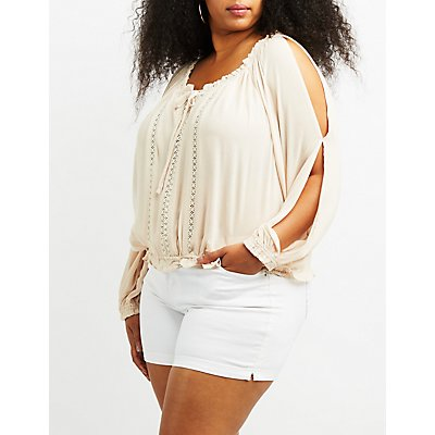 Plus Size Crochet-Trim Split Sleeve Top