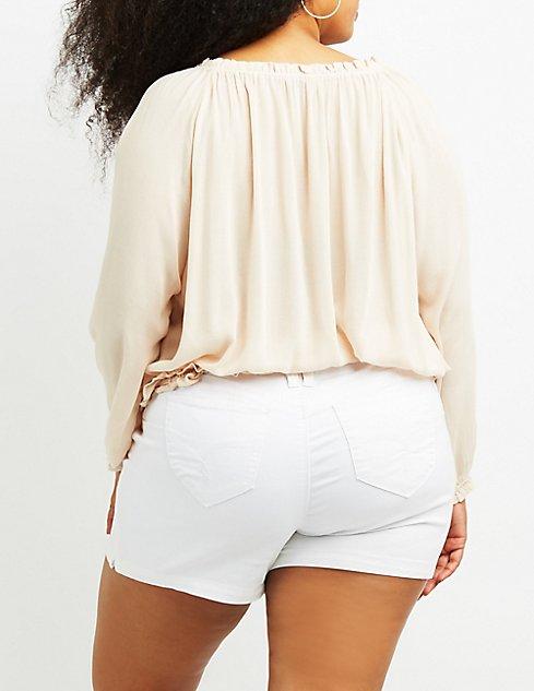 4d32217e2b76b6 Plus Size Crochet-Trim Split Sleeve Top | Charlotte Russe
