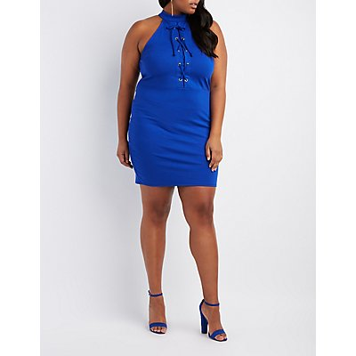 Plus Size Mock Neck Lace-Up Bodycon Dress