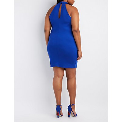 Plus Size Mock Neck Lace-Up Bodycon Dress