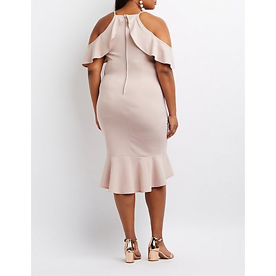 Plus Size Ruffle Cold Shoulder Flounced Dress