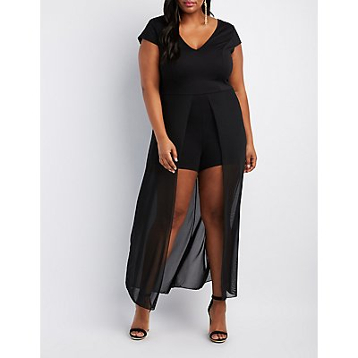 Plus Size V-Neck Layered Maxi Romper