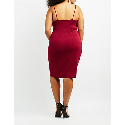 Plus Size Asymmetrical Midi Wrap Dress