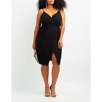 Plus Size Asymmetrical Midi Wrap Dress