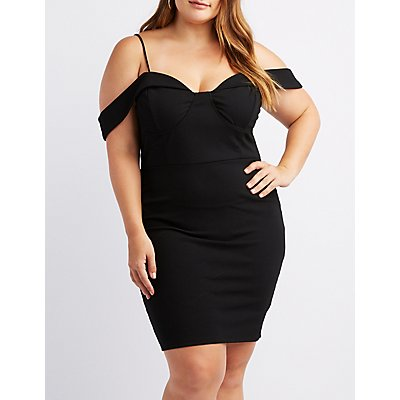 Plus Size Cold Shoulder Bustier Dress