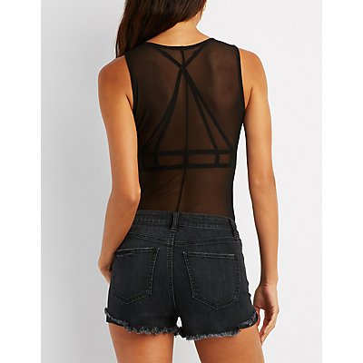 Cherry Patch Mesh Bodysuit