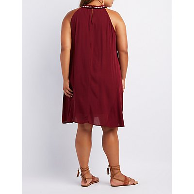 Plus Size Embroidered Bib Neck Shift Dress