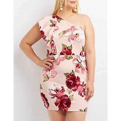 Plus Size Floral Ruffle One-Shoulder Dress