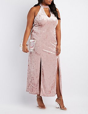 Plus Size Velvet Mock Neck Maxi Dress