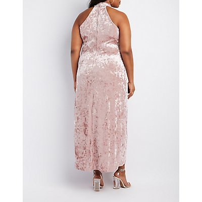 Plus Size Velvet Mock Neck Maxi Dress