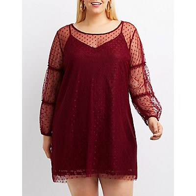 Plus Size Mesh Swiss Dot Shift Dress