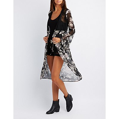 Floral & Lace Bell Sleeve Duster