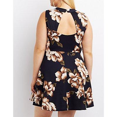 Plus Size Floral Choker Neck Skater Dress