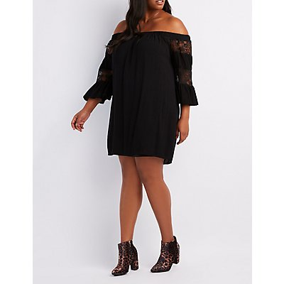 Plus Size Lace-Inset Off-The-Shoulder Shift Dress