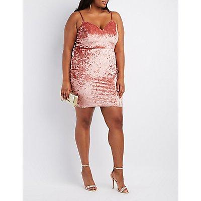 Plus Size Velvet Strappy Bodycon Dress