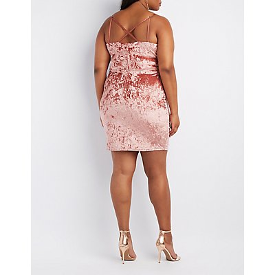 Plus Size Velvet Strappy Bodycon Dress