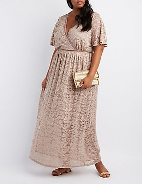 Plus Size Lace V-Neck Maxi Dress