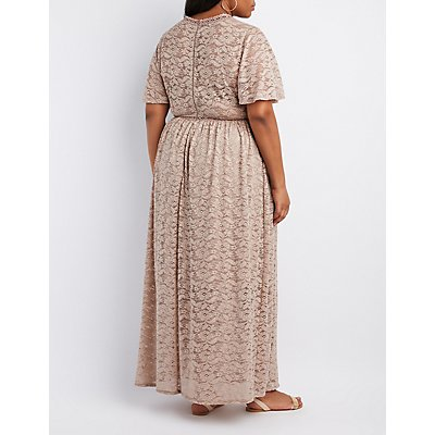 Plus Size Lace V-Neck Maxi Dress