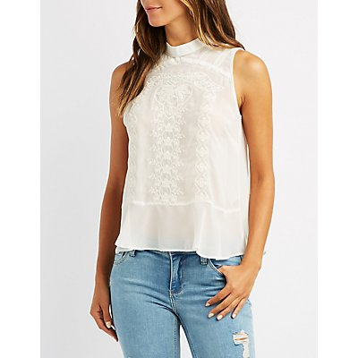 Embroidered Mock Neck Tank Top
