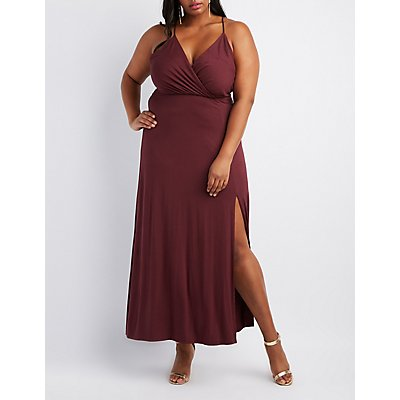 Plus Size Strappy Surplice Maxi Dress