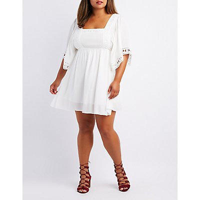 Plus Size Crochet-Trim Babydoll Dress