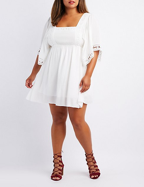 Plus Size Crochet Trim Babydoll Dress Charlotte Russe
