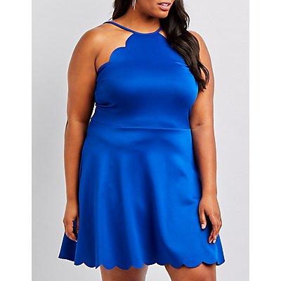 Plus Size Scalloped Bib Neck Skater Dress
