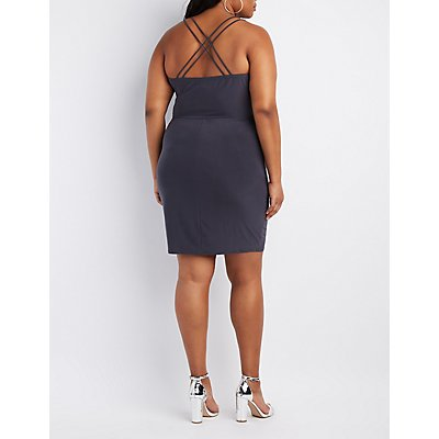 Plus Size Strappy Cowl Neck Dress