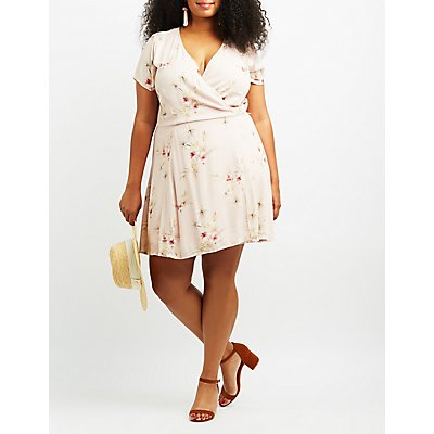 Plus Size Ruffle-Trim Bib Neck Skater Dress