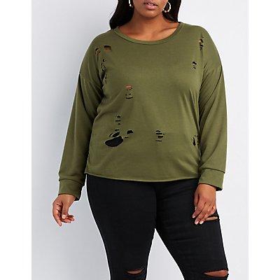 Plus Size Distressed Cut-Off Sweatshirt